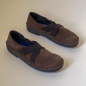 NAOT Belgium Brown Suede Slip On Shoes Size 41